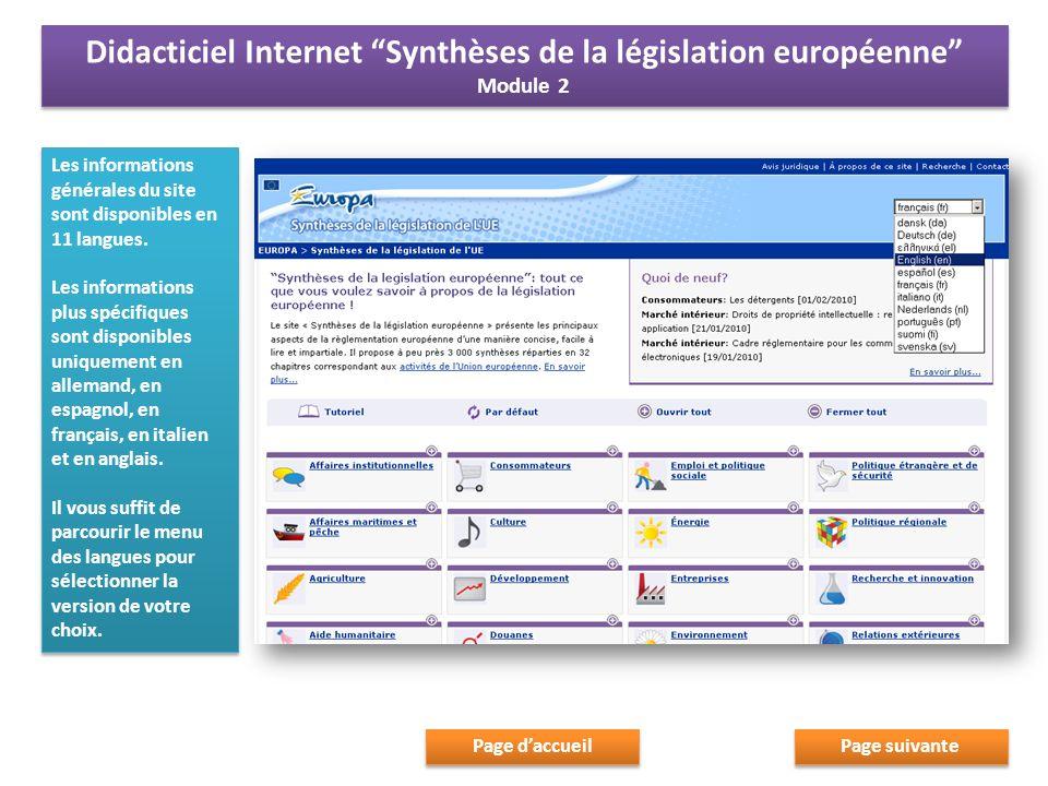 Les informations générales du site sont disponibles en 11 langues.