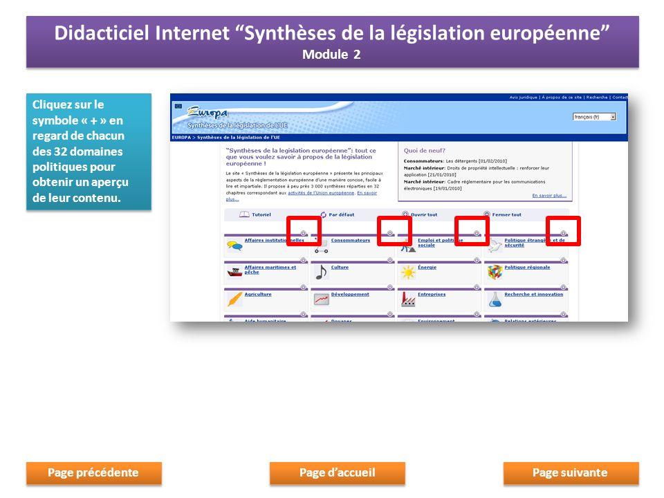 Cliquez sur le symbole « moins » pour fermer les boîtes Page suivante Page daccueil Page précédente Didacticiel Internet Synthèses de la législation européenne Module 2 Didacticiel Internet Synthèses de la législation européenne Module 2