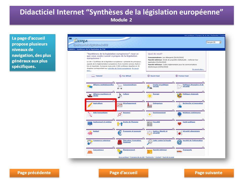 Chaque domaine thématique comporte les éléments suivants: 1.un aperçu général du domaine politique sélectionné; Chaque domaine thématique comporte les éléments suivants: 1.un aperçu général du domaine politique sélectionné; Page suivante Page daccueil Page précédente Didacticiel Internet Synthèses de la législation européenne Module 2 Didacticiel Internet Synthèses de la législation européenne Module 2