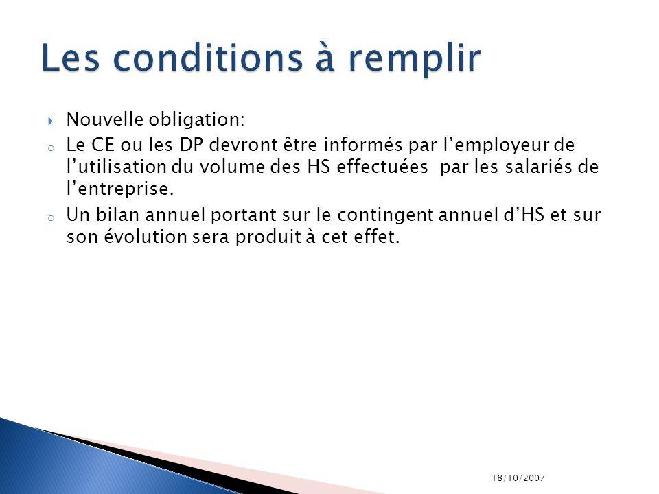 18/10/2007 Nouvelle obligation: o Le CE ou les DP devront être informés par lemployeur de lutilisation du volume des HS effectuées par les salariés de