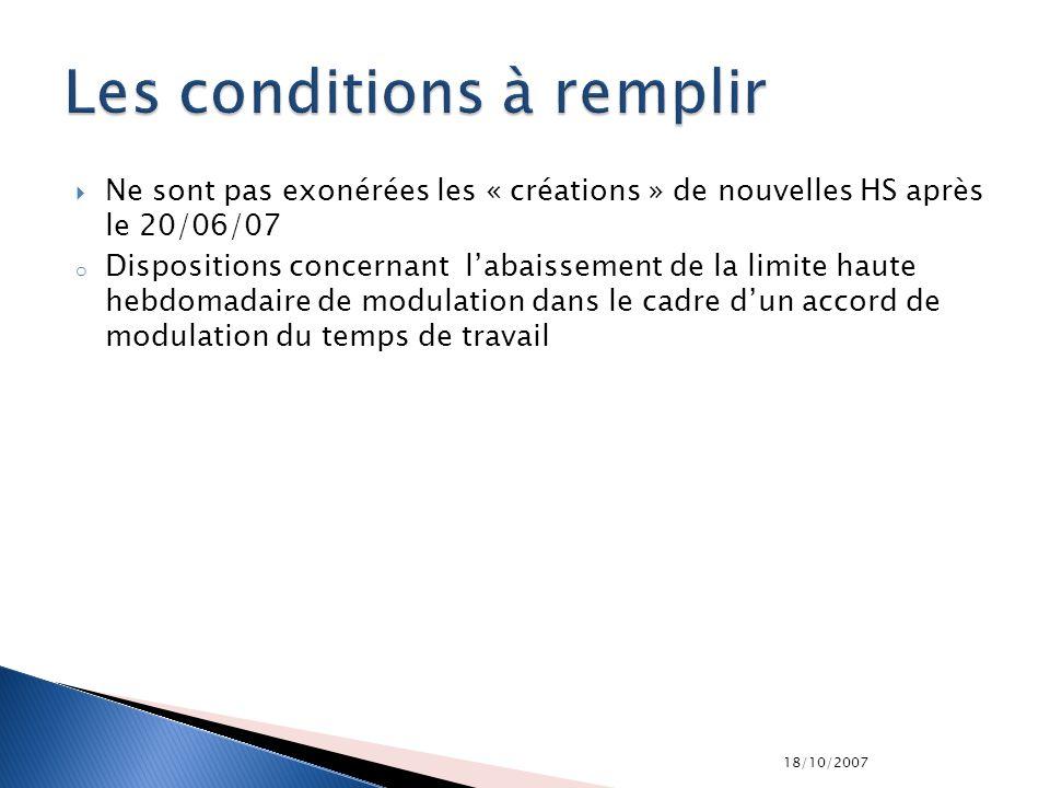 18/10/2007 Ne sont pas exonérées les « créations » de nouvelles HS après le 20/06/07 o Dispositions concernant labaissement de la limite haute hebdoma