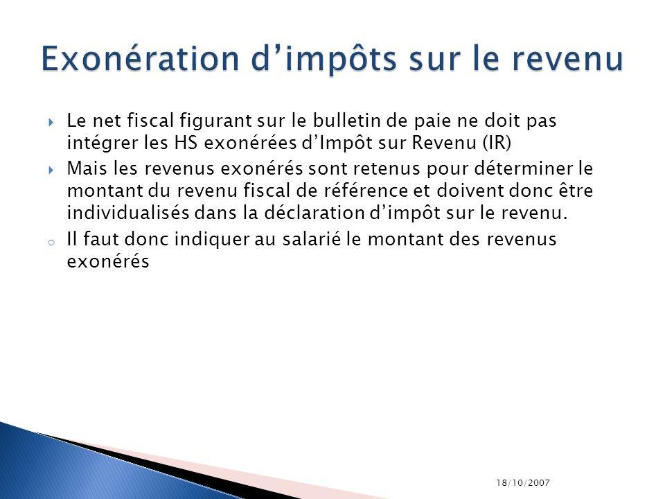 18/10/2007 Le net fiscal figurant sur le bulletin de paie ne doit pas intégrer les HS exonérées dImpôt sur Revenu (IR) Mais les revenus exonérés sont