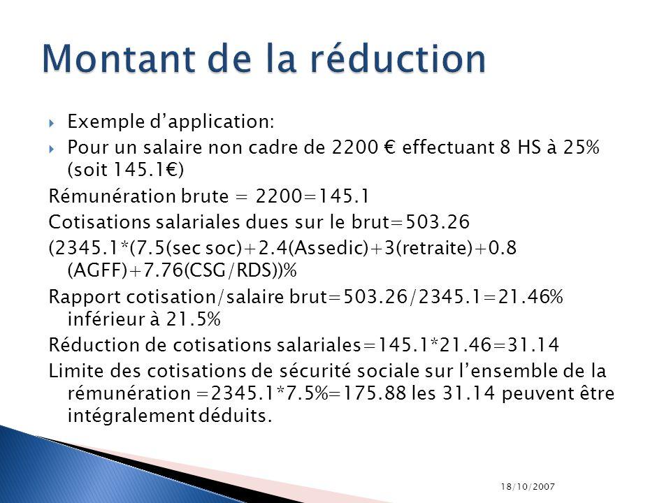 18/10/2007 Exemple dapplication: Pour un salaire non cadre de 2200 effectuant 8 HS à 25% (soit 145.1) Rémunération brute = 2200=145.1 Cotisations sala