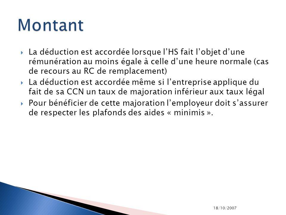 18/10/2007 La déduction est accordée lorsque lHS fait lobjet dune rémunération au moins égale à celle dune heure normale (cas de recours au RC de remp