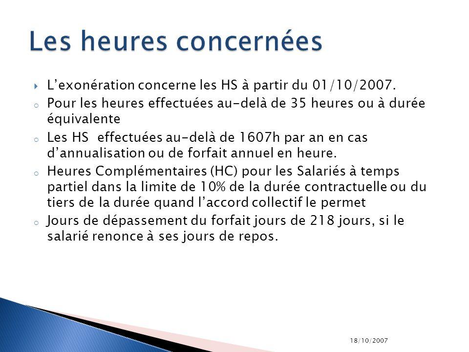 18/10/2007 Lexonération concerne les HS à partir du 01/10/2007. o Pour les heures effectuées au-delà de 35 heures ou à durée équivalente o Les HS effe