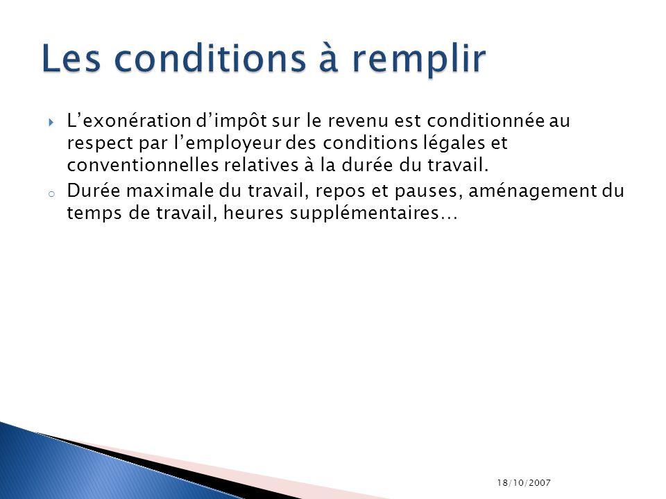18/10/2007 Lexonération dimpôt sur le revenu est conditionnée au respect par lemployeur des conditions légales et conventionnelles relatives à la duré