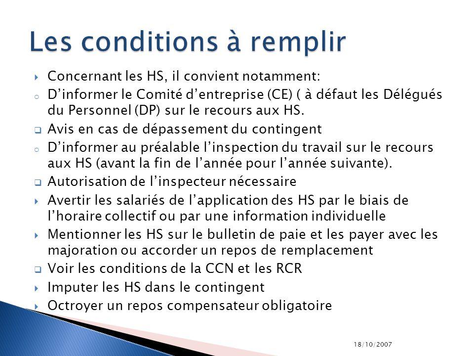 18/10/2007 Concernant les HS, il convient notamment: o Dinformer le Comité dentreprise (CE) ( à défaut les Délégués du Personnel (DP) sur le recours a