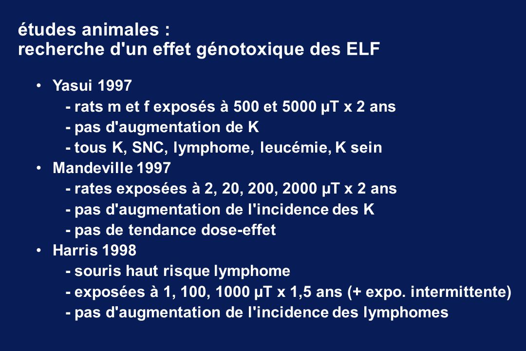 études animales : recherche d un effet génotoxique des ELF Yasui 1997 - rats m et f exposés à 500 et 5000 µT x 2 ans - pas d augmentation de K - tous K, SNC, lymphome, leucémie, K sein Mandeville 1997 - rates exposées à 2, 20, 200, 2000 µT x 2 ans - pas d augmentation de l incidence des K - pas de tendance dose-effet Harris 1998 - souris haut risque lymphome - exposées à 1, 100, 1000 µT x 1,5 ans (+ expo.