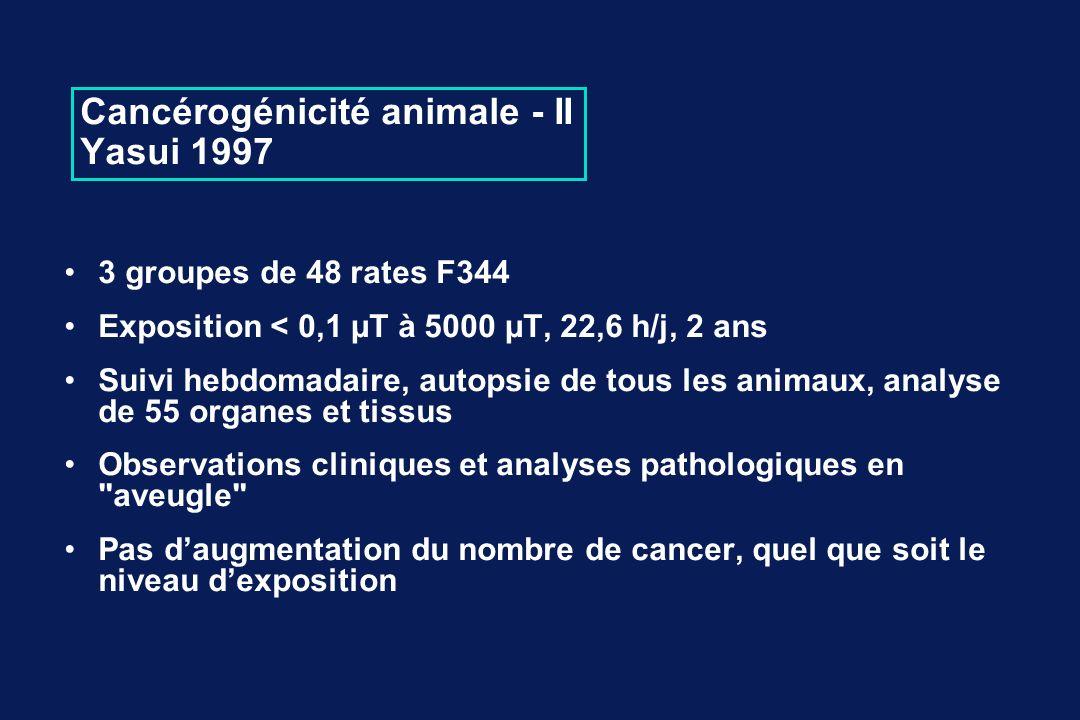 Cancérogénicité animale - II Yasui 1997 3 groupes de 48 rates F344 Exposition < 0,1 µT à 5000 µT, 22,6 h/j, 2 ans Suivi hebdomadaire, autopsie de tous les animaux, analyse de 55 organes et tissus Observations cliniques et analyses pathologiques en aveugle Pas daugmentation du nombre de cancer, quel que soit le niveau dexposition