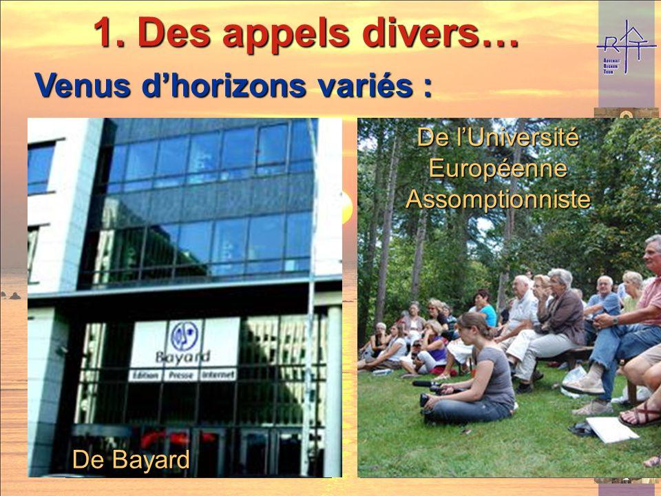 De la péniche De lHospitalité Notre-Dame de Salut De Bayard De lUniversité Européenne Assomptionniste Venus dhorizons variés : 1.