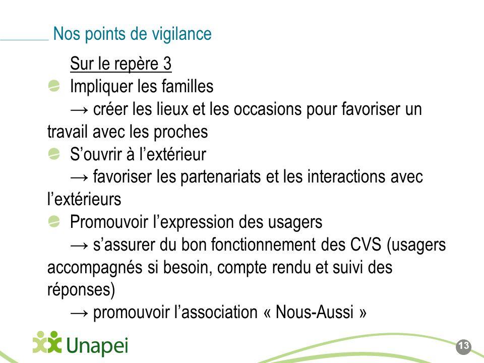 Sur le repère 3 Impliquer les familles créer les lieux et les occasions pour favoriser un travail avec les proches Souvrir à lextérieur favoriser les