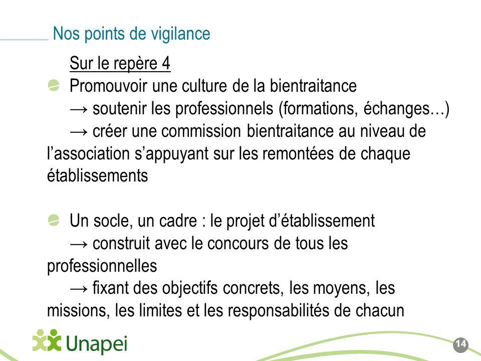 Sur le repère 4 Promouvoir une culture de la bientraitance soutenir les professionnels (formations, échanges…) créer une commission bientraitance au n