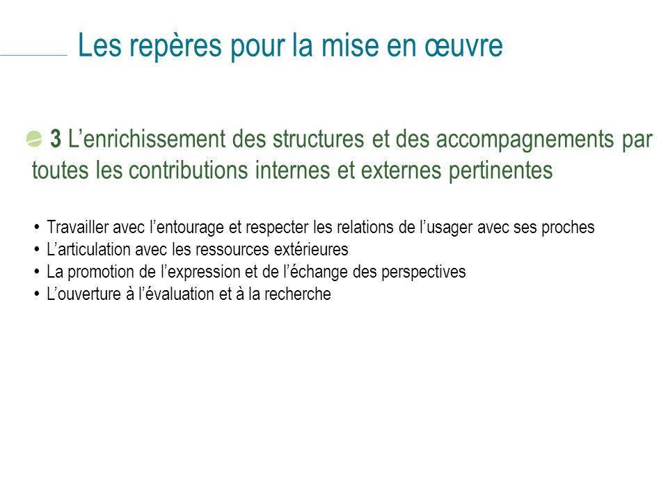 Les repères pour la mise en œuvre 3 Lenrichissement des structures et des accompagnements par toutes les contributions internes et externes pertinente