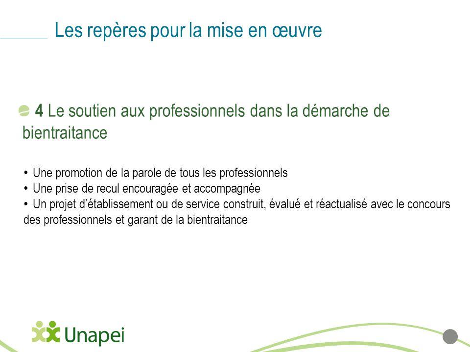 Les repères pour la mise en œuvre 4 Le soutien aux professionnels dans la démarche de bientraitance Une promotion de la parole de tous les professionn