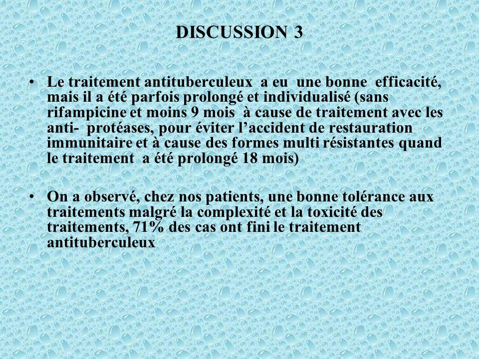 DISCUSSION 3 Le traitement antituberculeux a eu une bonne efficacité, mais il a été parfois prolongé et individualisé (sans rifampicine et moins 9 moi