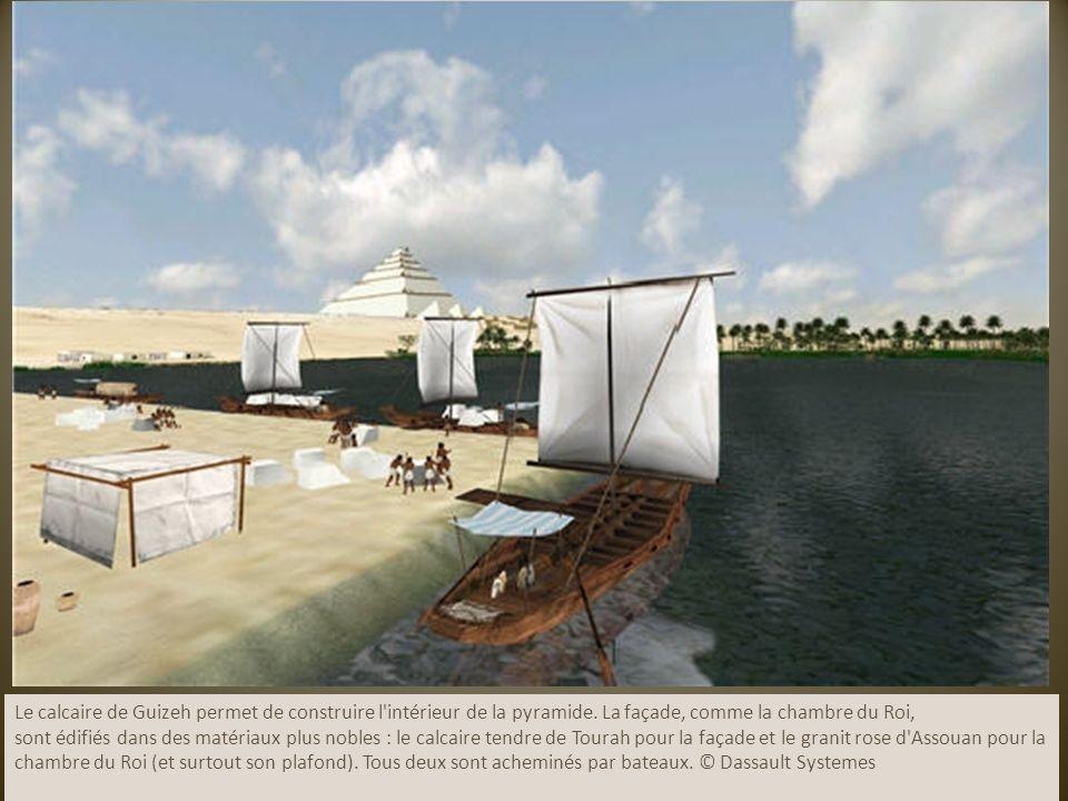 Le calcaire de Guizeh permet de construire l'intérieur de la pyramide. La façade, comme la chambre du Roi, sont édifiés dans des matériaux plus nobles