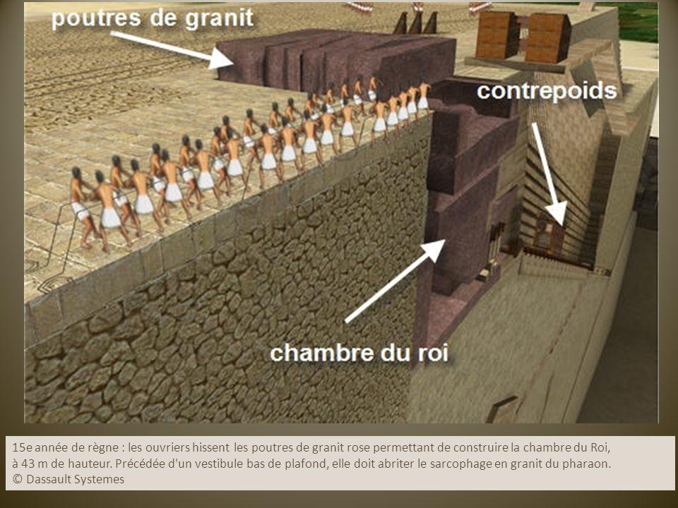 15e année de règne : les ouvriers hissent les poutres de granit rose permettant de construire la chambre du Roi, à 43 m de hauteur. Précédée d'un vest