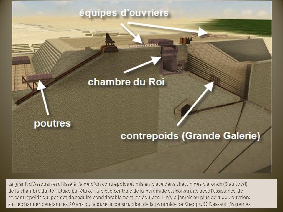 Le granit d'Assouan est hissé à l'aide d'un contrepoids et mis en place dans chacun des plafonds (5 au total) de la chambre du Roi. Etage par étage, l