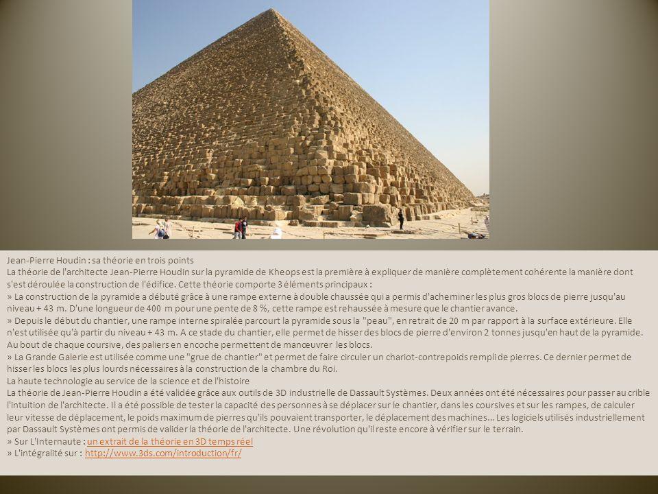 Jean-Pierre Houdin : sa théorie en trois points La théorie de l'architecte Jean-Pierre Houdin sur la pyramide de Kheops est la première à expliquer de