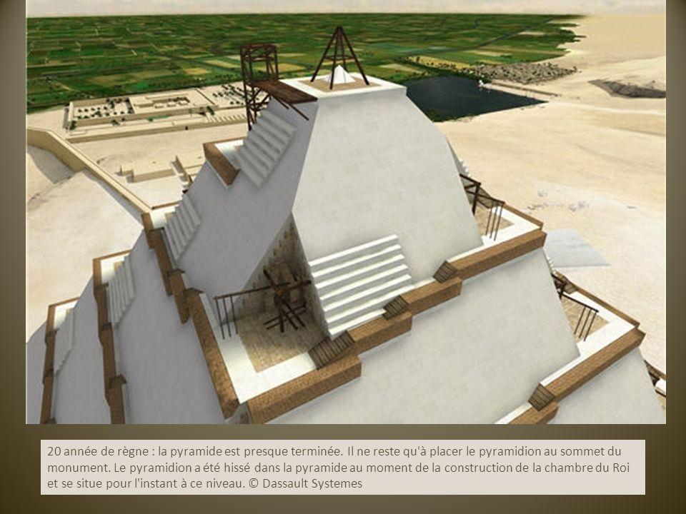 20 année de règne : la pyramide est presque terminée. Il ne reste qu'à placer le pyramidion au sommet du monument. Le pyramidion a été hissé dans la p