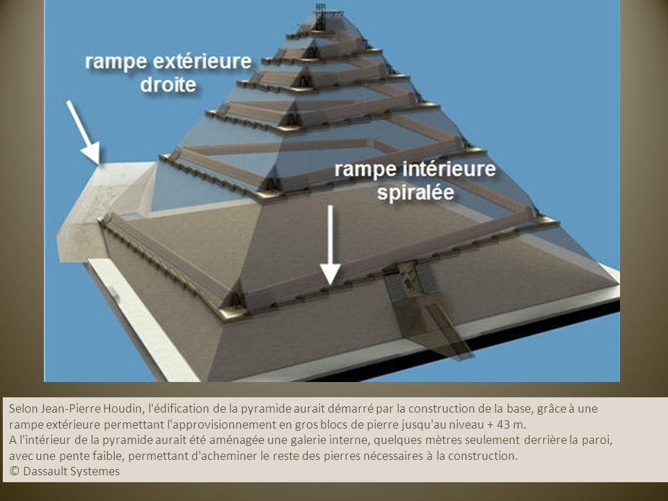 Selon Jean-Pierre Houdin, l'édification de la pyramide aurait démarré par la construction de la base, grâce à une rampe extérieure permettant l'approv
