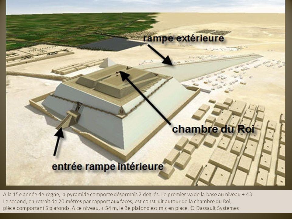 A la 15e année de règne, la pyramide comporte désormais 2 degrés. Le premier va de la base au niveau + 43. Le second, en retrait de 20 mètres par rapp