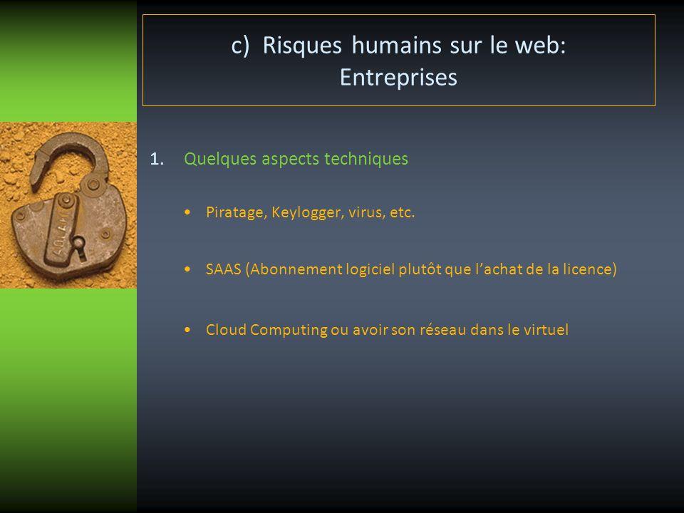 c) Risques humains sur le web: Entreprises 1.Quelques aspects techniques Piratage, Keylogger, virus, etc. SAAS (Abonnement logiciel plutôt que lachat