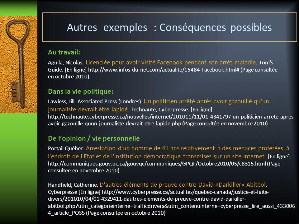 Autres exemples : Conséquences possibles Au travail: Aguila, Nicolas. Licenciée pour avoir visité Facebook pendant son arrêt maladie. Tom's Guide. [En