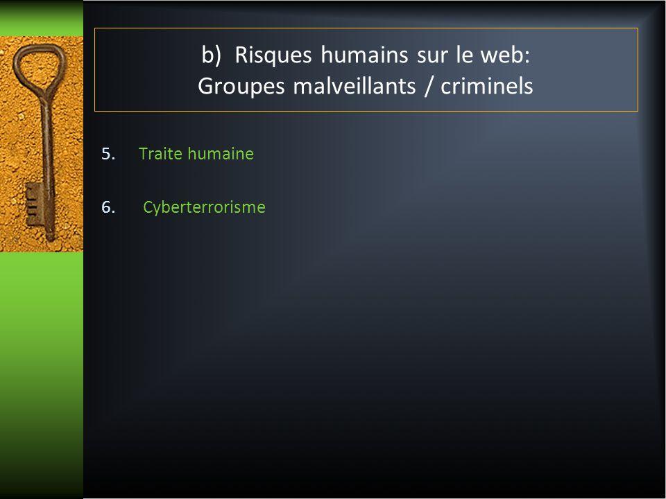 b) Risques humains sur le web: Groupes malveillants / criminels 7.Jeunes 8.Aussi sur le web Cyberprédateurs/cyberharceleurs Cyberprostitution Espionnage anciens conjoints/leurre (conjoints actuels)