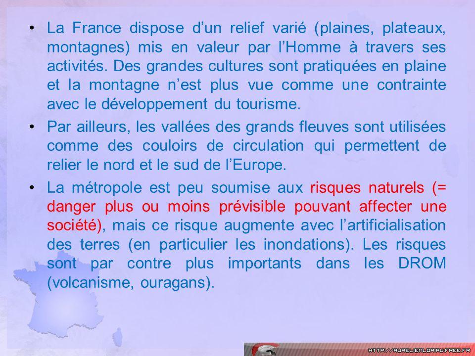 La France dispose dun relief varié (plaines, plateaux, montagnes) mis en valeur par lHomme à travers ses activités. Des grandes cultures sont pratiqué