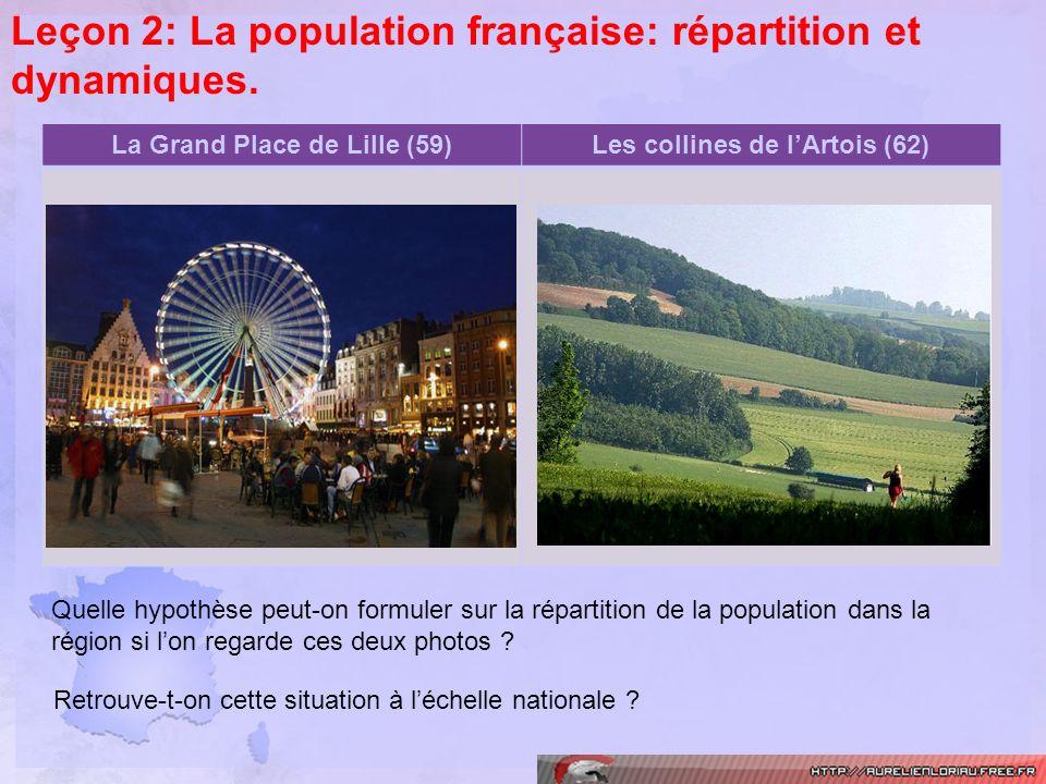 Leçon 2: La population française: répartition et dynamiques. La Grand Place de Lille (59)Les collines de lArtois (62) Quelle hypothèse peut-on formule