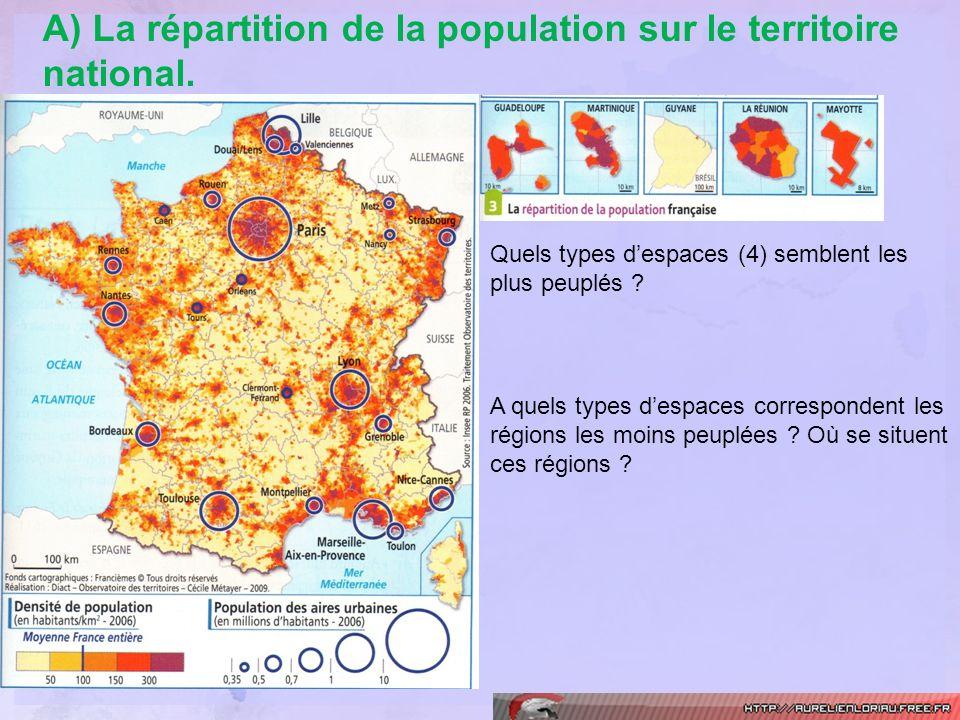 A) La répartition de la population sur le territoire national. Quels types despaces (4) semblent les plus peuplés ? A quels types despaces corresponde