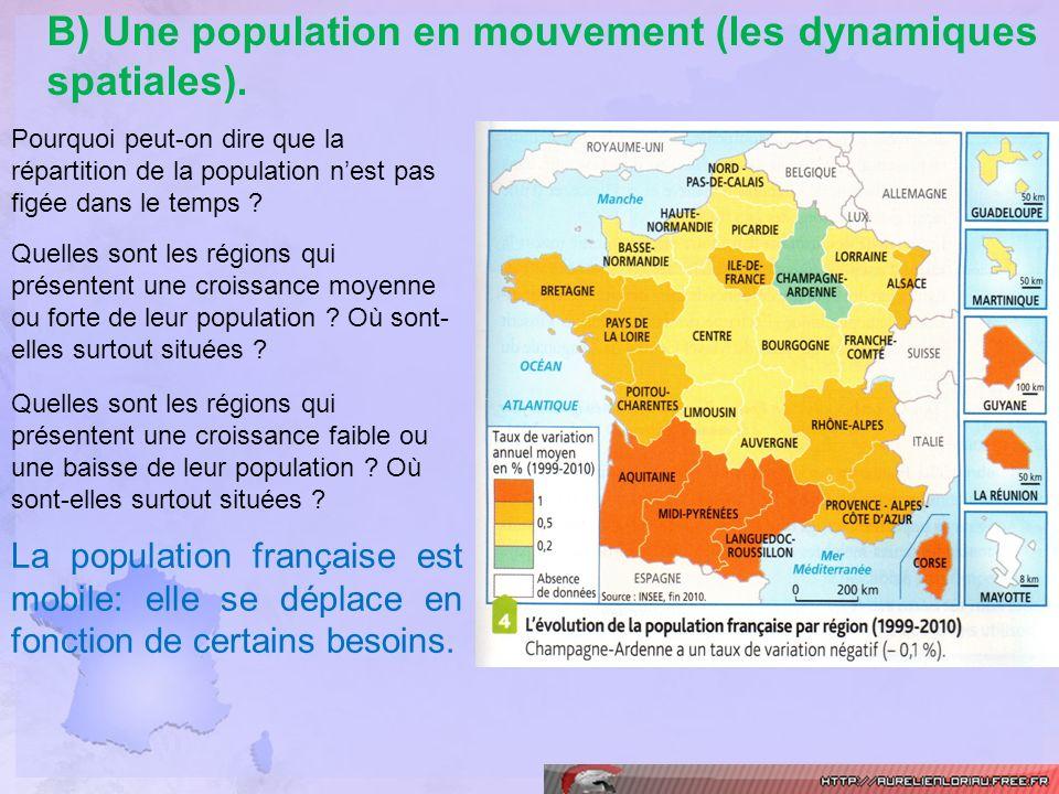 B) Une population en mouvement (les dynamiques spatiales). Pourquoi peut-on dire que la répartition de la population nest pas figée dans le temps ? Qu