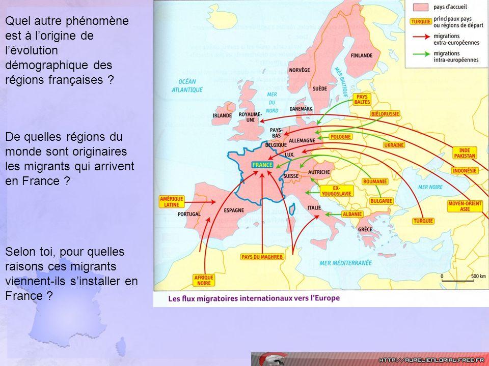 Quel autre phénomène est à lorigine de lévolution démographique des régions françaises ? De quelles régions du monde sont originaires les migrants qui