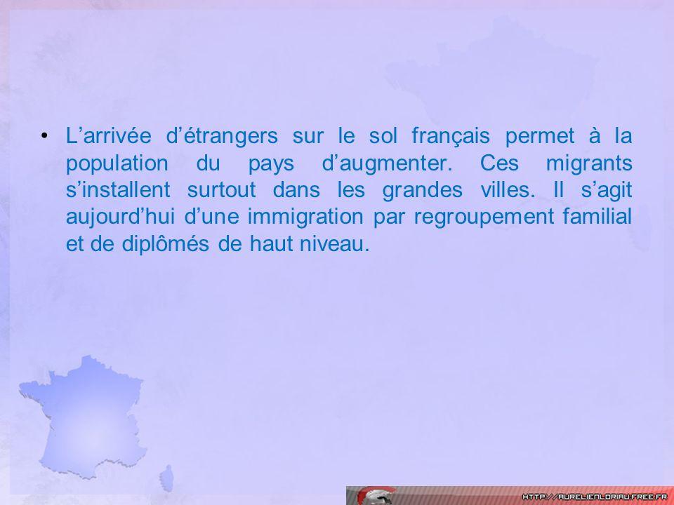 Larrivée détrangers sur le sol français permet à la population du pays daugmenter. Ces migrants sinstallent surtout dans les grandes villes. Il sagit