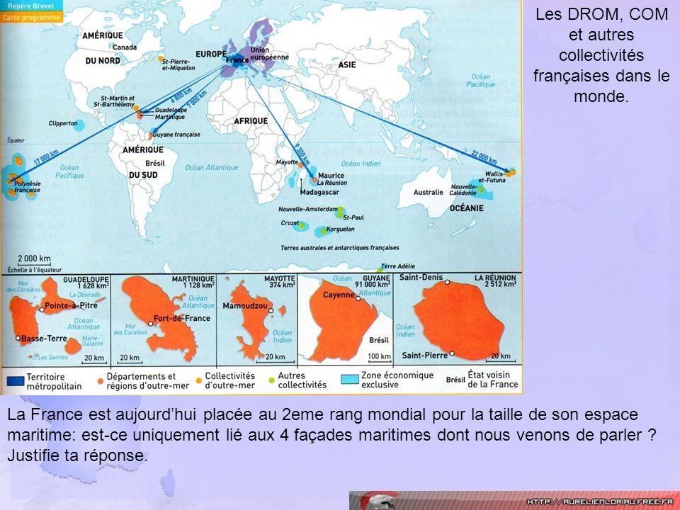 Les DROM, COM et autres collectivités françaises dans le monde. La France est aujourdhui placée au 2eme rang mondial pour la taille de son espace mari