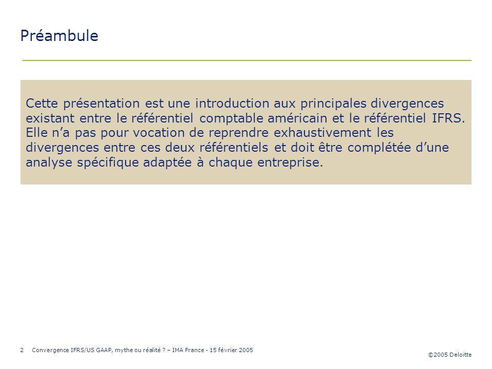 ©2005 Deloitte 2Convergence IFRS/US GAAP, mythe ou réalité ? – IMA France - 15 février 2005 Préambule Cette présentation est une introduction aux prin