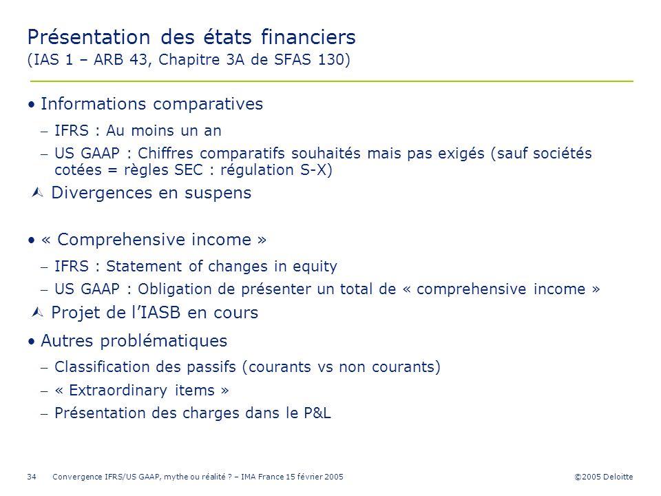 ©2005 Deloitte Convergence IFRS/US GAAP, mythe ou réalité ? – IMA France 15 février 200534 Présentation des états financiers (IAS 1 – ARB 43, Chapitre