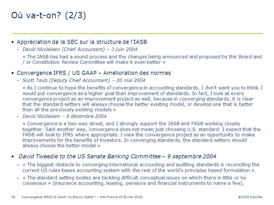 ©2005 Deloitte Convergence IFRS/US GAAP, mythe ou réalité ? – IMA France 15 février 200538 Où va-t-on? (2/3) Appréciation de la SEC sur la structure d