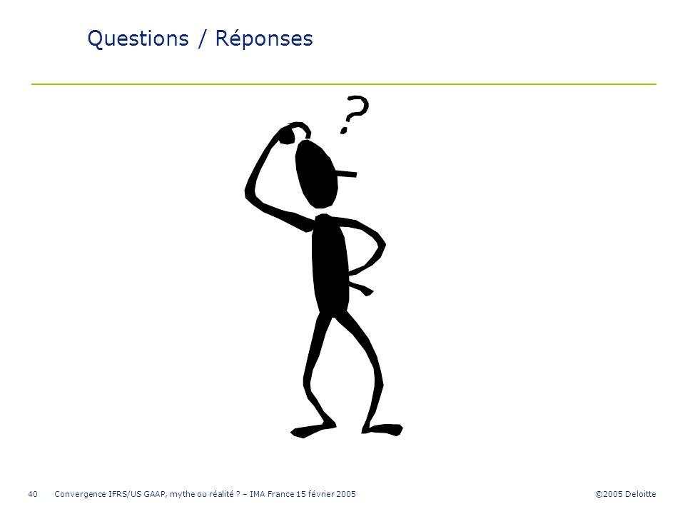 ©2005 Deloitte Convergence IFRS/US GAAP, mythe ou réalité ? – IMA France 15 février 200540 Questions / Réponses