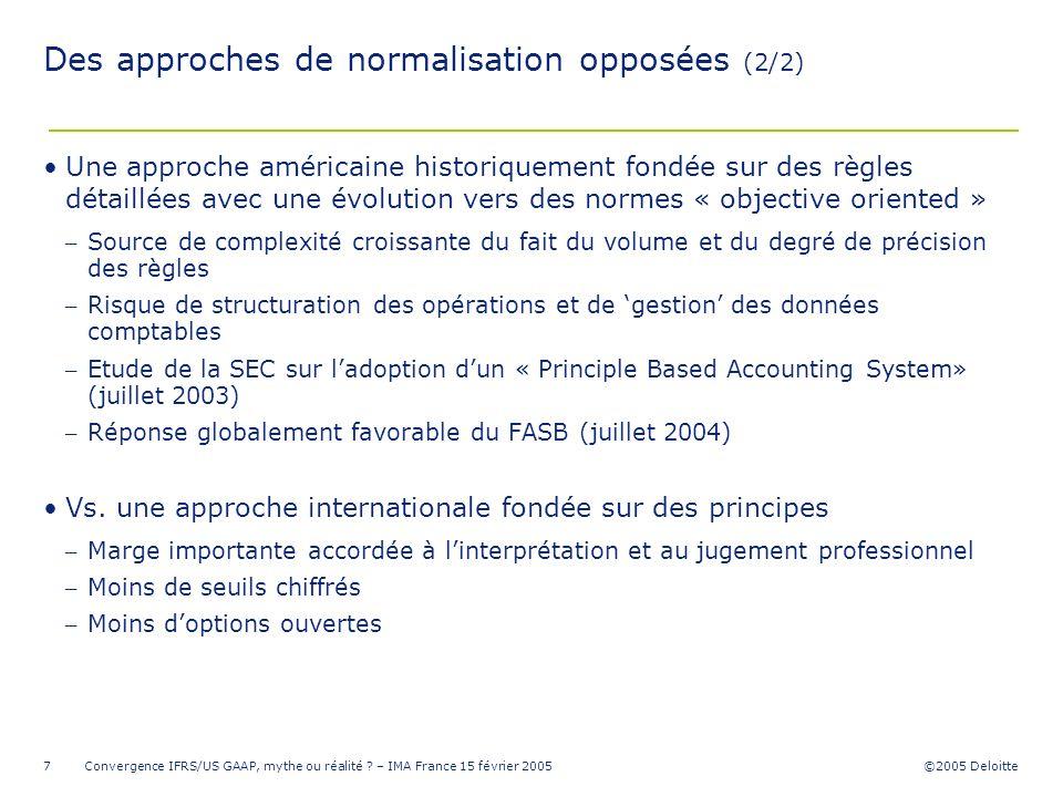 ©2005 Deloitte Convergence IFRS/US GAAP, mythe ou réalité ? – IMA France 15 février 20057 Des approches de normalisation opposées (2/2) Une approche a