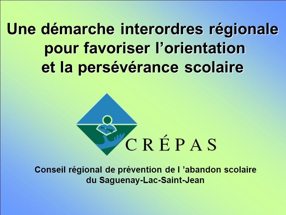 Une démarche interordres régionale pour favoriser lorientation et la persévérance scolaire Conseil régional de prévention de l abandon scolaire du Saguenay-Lac-Saint-Jean