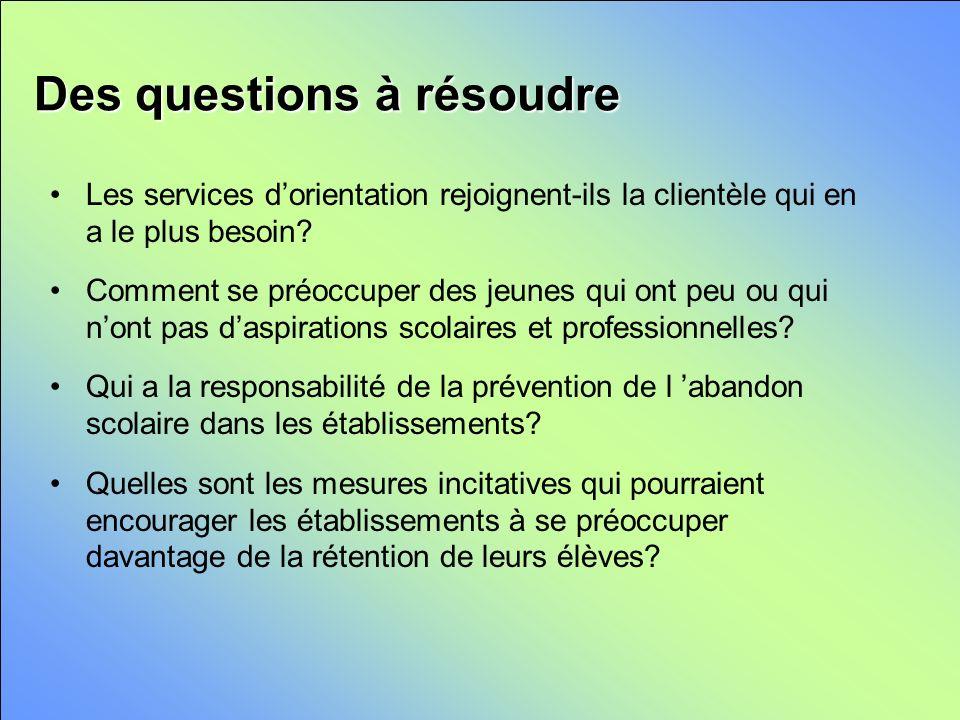 Des questions à résoudre Les services dorientation rejoignent-ils la clientèle qui en a le plus besoin.