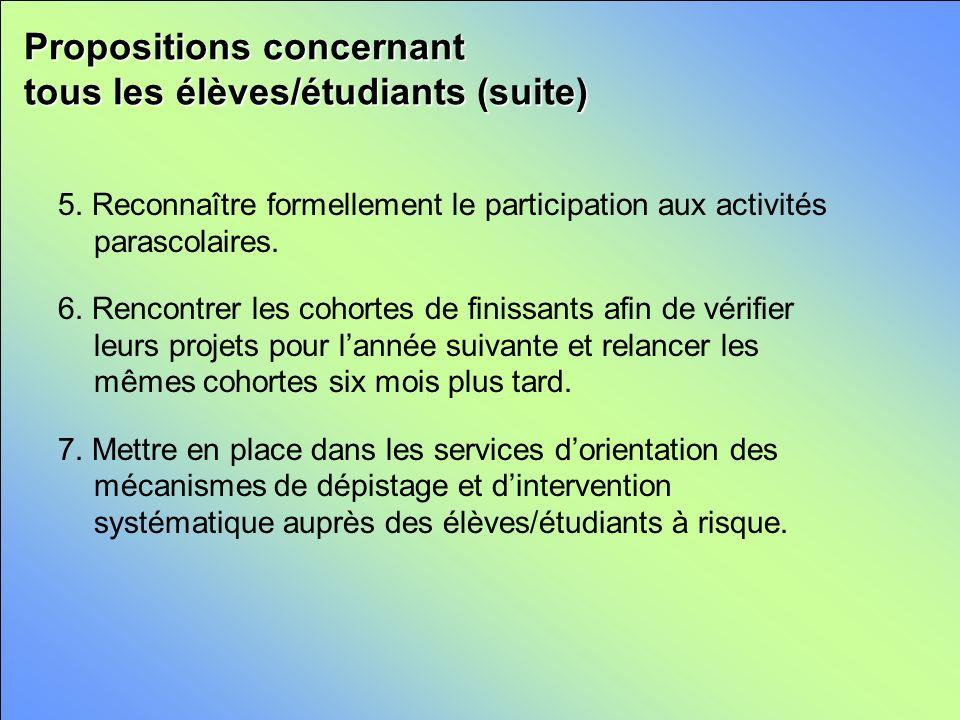 Propositions concernant tous les élèves/étudiants (suite) 5.