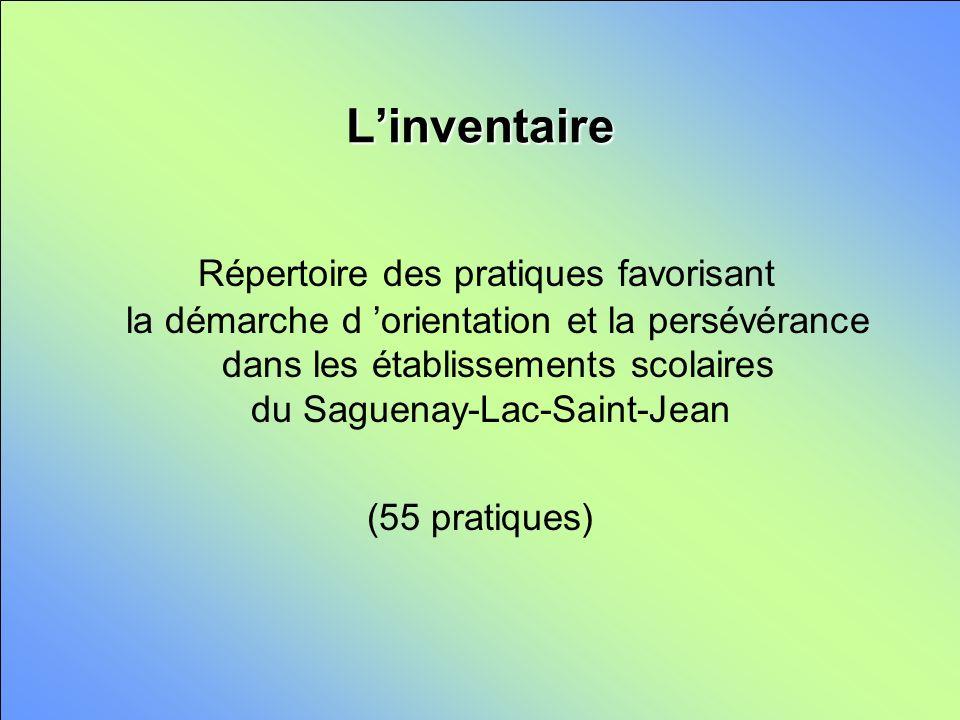 Linventaire Répertoire des pratiques favorisant la démarche d orientation et la persévérance dans les établissements scolaires du Saguenay-Lac-Saint-Jean (55 pratiques)