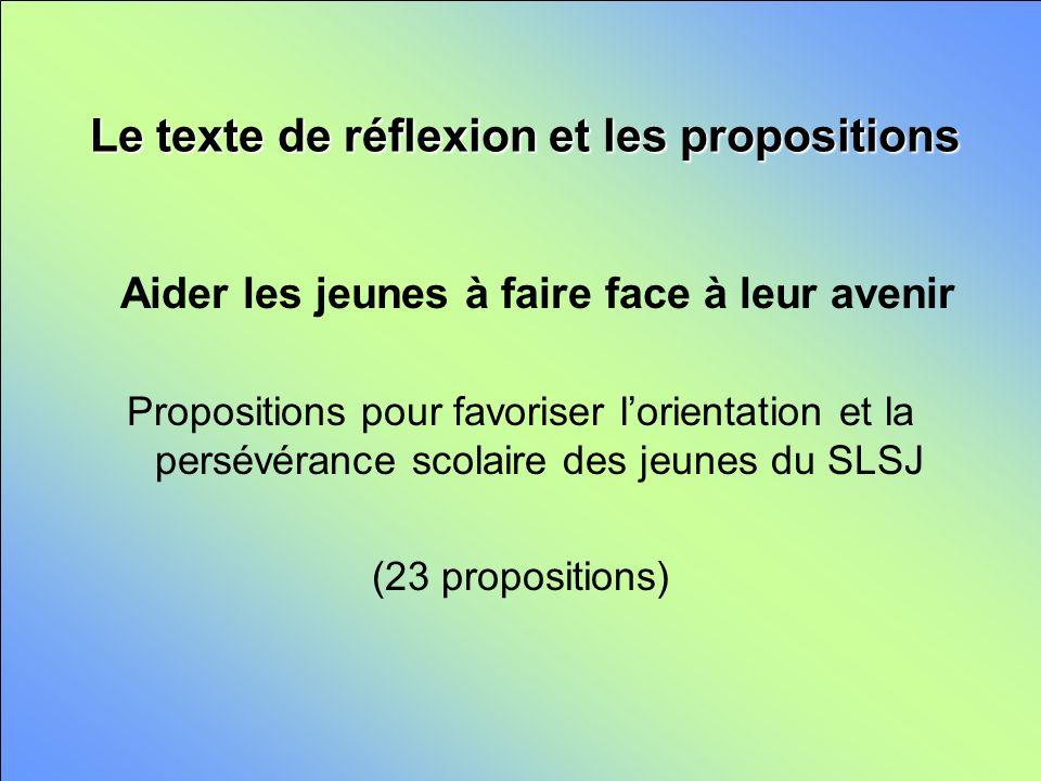 Le texte de réflexion et les propositions Aider les jeunes à faire face à leur avenir Propositions pour favoriser lorientation et la persévérance scolaire des jeunes du SLSJ (23 propositions)