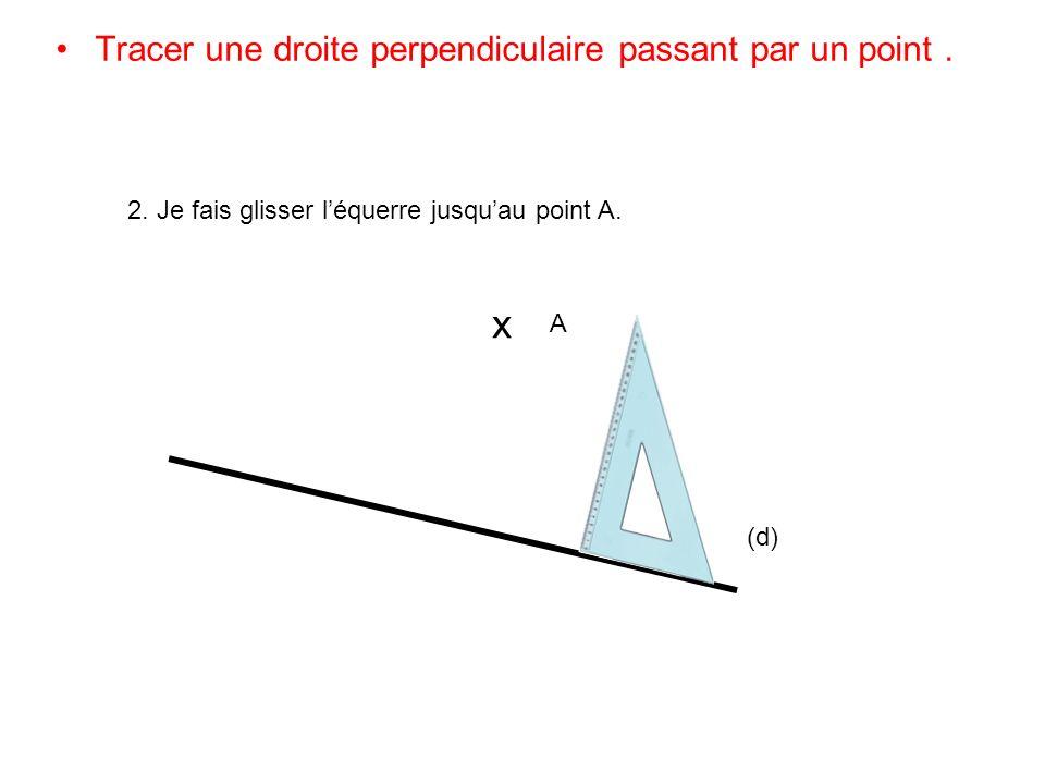 Tracer une droite perpendiculaire passant par un point. (d) x A 2. Je fais glisser léquerre jusquau point A.