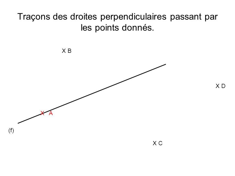 Traçons des droites perpendiculaires passant par les points donnés. (f) X A X B X C X D