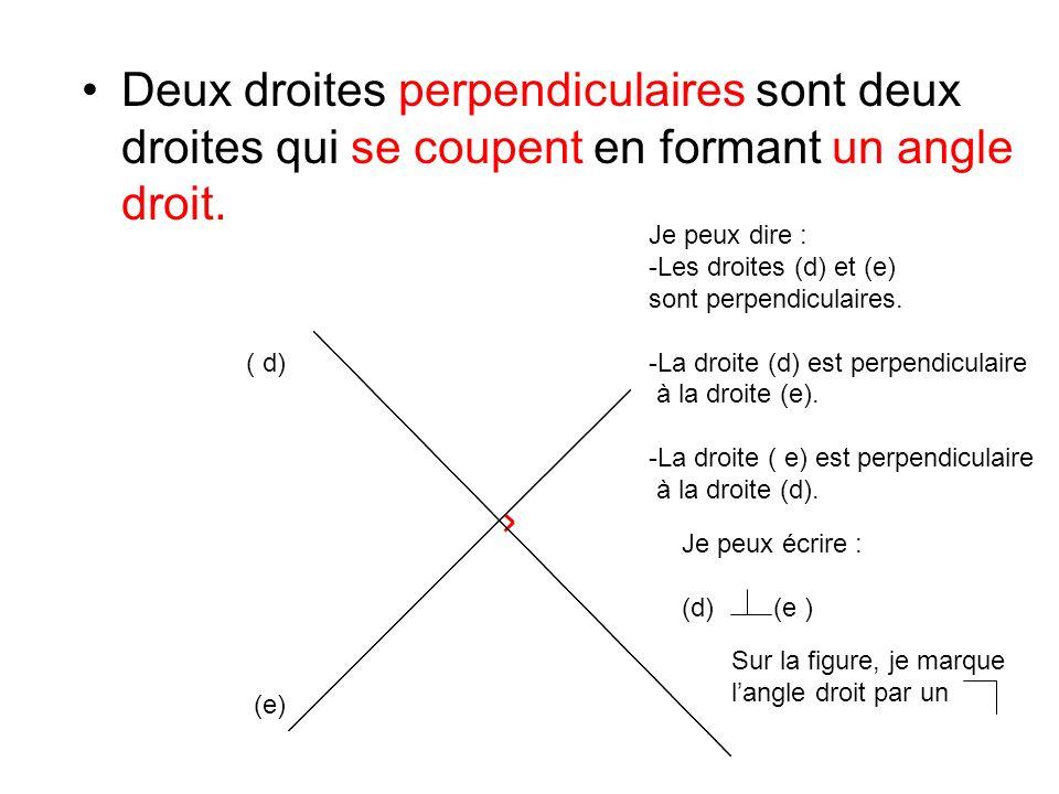 Deux droites perpendiculaires sont deux droites qui se coupent en formant un angle droit. ( d) (e) Je peux dire : -Les droites (d) et (e) sont perpend