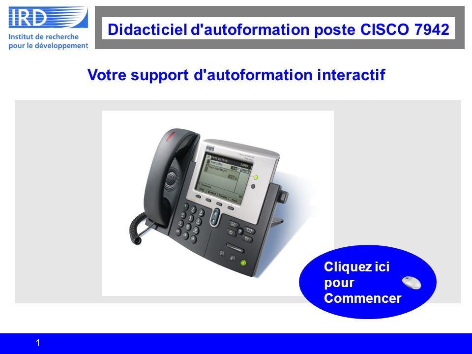1 Didacticiel d'autoformation poste CISCO 7942 Votre support d'autoformation interactif Cliquez ici pour Commencer